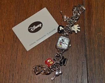 Vintage Disney Mickey Mouse Charm Bracelet Watch with Original Box
