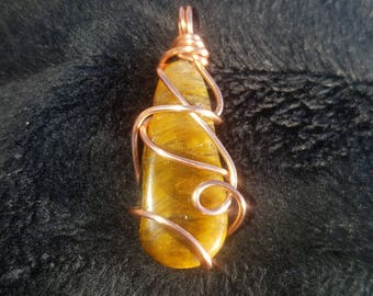 Tigers Eye Copper Wrapped Pendant