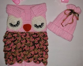 Baby Girl Owl Cocoon Snuggly Set