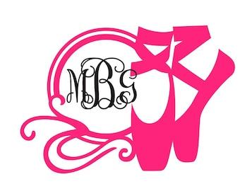 Ballet Shoe Monogram | Personalize your Yeti, laptop, phone case, mirror, school supplies, car window, etc