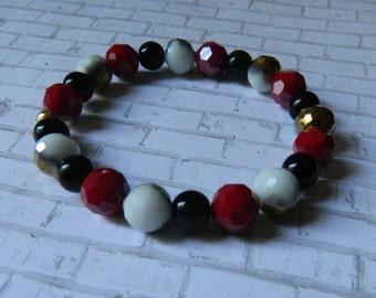 10mm Glass Red, White & Gold Faceted Beaded Bracelet with 8mm Black Glass Pearls, Beaded Bracelet, Gift, Elastic Bracelet