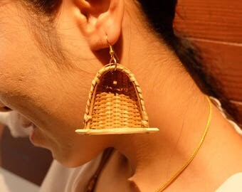 Earrings from bamboo
