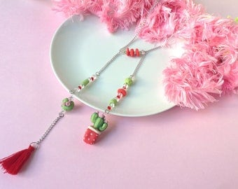 Cactus Necklace, handmade cactus, cold porcelain necklace, gift, cactus necklace, cactus jewelry, handmade cactus, gift for her