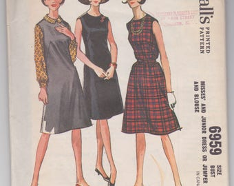 Vintage 1960s sewing pattern by McCalls -- dress or jumper and blouse for Junior size 13