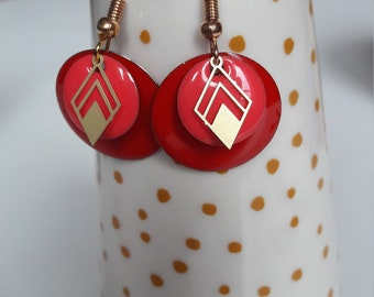 Sequin enamelled earrings