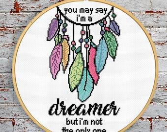 I'm A Dreamer Dream Catcher Modern Cross Stitch Pattern