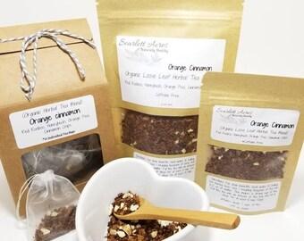 Organic Orange Cinnamon Tea, Organic Loose Leaf Herbal Tea, tea gift set, tea, loose leaf tea, rooibos tea.