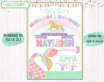 MERMAIDS and UNICORNS Birthday Invitation / Digital File / Printable