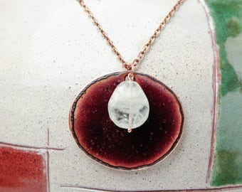 Purple oval pendant Aqumarine gemsone Cloisonne enamel pendant Enameled Copper Necklace Metalwork Jewelry Aquamarine gemstone Free shipping