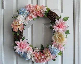 18 inch Flowered Wreath   All Season   Year Round    Bridal Shower   Hanging Door Decoration   Pink Blue   Circle   Spring   Summer