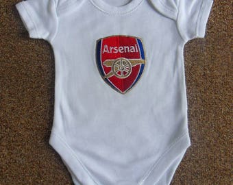 Arsenal Embroidered Babygrow Bodysuit Vest available in all sizes from 0-18 months