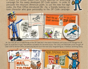 Mr. Zip - Tribute to Postal History - Artistamp (Cinderella, Faux Postage) Souvenir-Style Sheet of 4 gummed and perforated stamps.