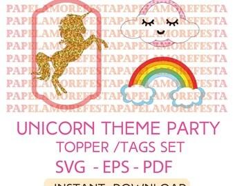 Unicorn Theme Party Set - Unicorn, Sleepy Cloud, Rainbow -Commercial Use-  Topper/Tags/Labels - SVG - EPS - PDF