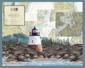 Castle Hill Lighthouse, Narragansett Bay, Newport RI on a NOAA Nautical Chart