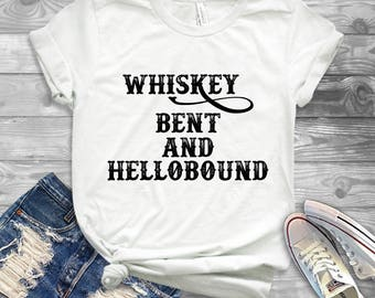 Whiskey Bent and Hellbound Shirt - Country Music Hank Williams Jr Shirt - Concert Shirt - Southern Country Shirts for Women - Song Shirts