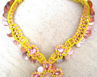 yellow necklace with pink perls