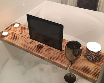 Rustic Handmade Bath Board, Bath Caddy, Bath Tray, IPad, Wine, Candles, Relax, Gift for her, Pamper, Spa, Scorched Wood, Made in Scotland