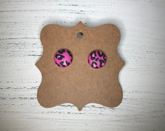 Cheetah print, leopard print, button earrings, fabric earrings, animal print