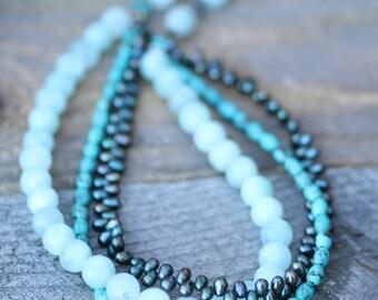 Necklace : Amazonite, Pearl, Turquoise, Blue multi-strand