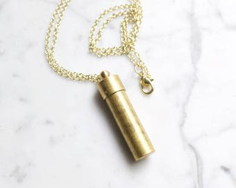 Canister Vial Necklace Secret Stash Vintage Brass