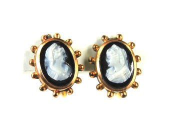 Antique Carved Hard Stone Cameo Earrings Sardonyx 12 Karat Gold Filled Screwbacks Etruscan Revival CIRCA 1870