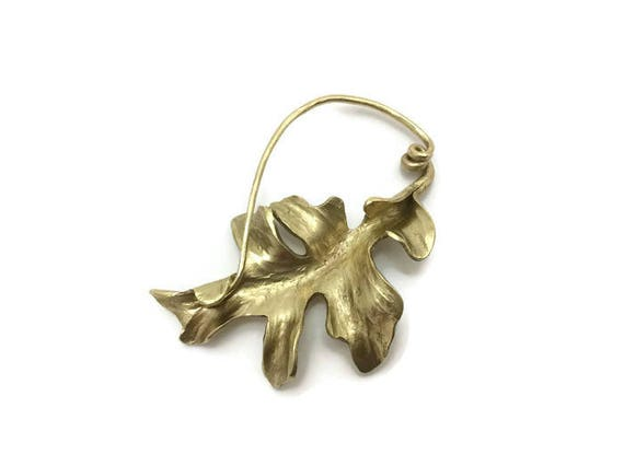 Goldtone brass oak leaf fibula style scarf or cloak pin, forged from a single piece of metal