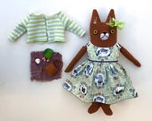 Girl Fox Doll wool Forest animal dress picnic plush softie