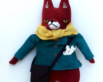 Fox Fellow Cranky in Corduroy Jacket wool doll plush hipster