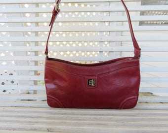 Beautiful Red Etienne Aigner Handbag with Adjustable Shoulder Strap - Faux Leather Purse
