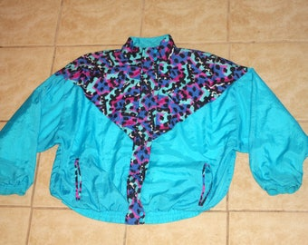 Aviat Sportif Abstract Blue Windbreaker XL Jacket Vintage 1990s