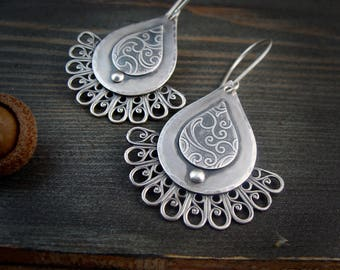 flourish  ... large sterling festoon earrings