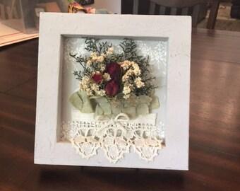 Flower art, mixed media art, dimensional art, dried flowers,  collage, country home, farmhouse decor, shelf sitter