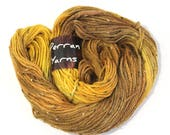 Mustard yellow fleck wool, handdyed aran wool, hand dyed merino donegal crochet yarn, Perran Yarns, Fields of Gold, golden honey yellow
