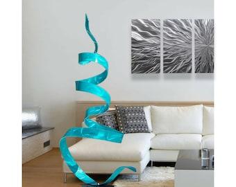 Aqua Modern Metal Garden Sculpture, Handmade Contemporary Indoor Outdoor Artwork, Abstract Yard Art - Aqua Twist by Jon Allen