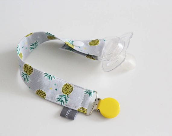 Pacifier clip - snap - enamel clip - gray - yellow - pineapple - green - summer - baby - boy - girl - baby gift - baby shower - dummy