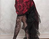 Victorian Pinup Steampunk Bustle Skirt or Outfit - Burgundy and Black - Ready to Ship