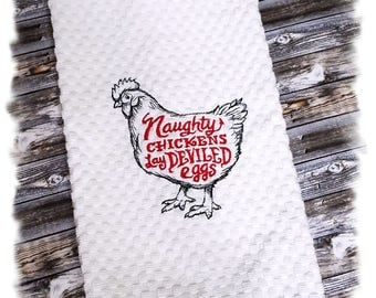 Kitchen Towel, Waffle Weave, Chicken Decor, Farmhouse Decor, Kitchen Towels, Kitchen Decor, Naughty Chickens Lay Deviled Eggs