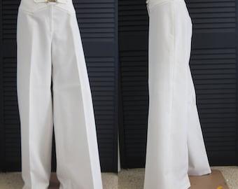 Vintage 70s Disco Pants Bell Bottom White Polyester Waist Size 29 Medium Womens Ladies