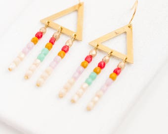 Triangle Chandeliers, Brass Triangle Earrings, White Fringe Earrings, Gold Beaded Tribal Earrings, Boho Fringe Earrings, White Bead Earrings