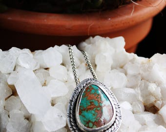 Turquoise Necklace, Sterling Silver green stone pendant, turquoise jewelry, southwest jewelry, silver pendant, royston turquoise, teardrop
