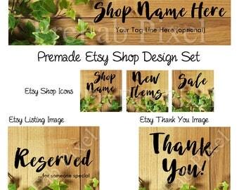 Wood Etsy Banners, Etsy Shop Banners, Shop Banner Set, Etsy Cover Photo, Etsy Store Banner, Rustic, Oak, Ivy, Vine, Woodland, Forest, Leaf