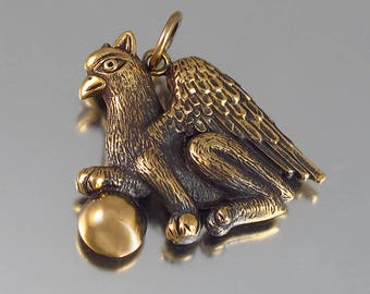 GRIFFIN bronze pendant - ready to ship
