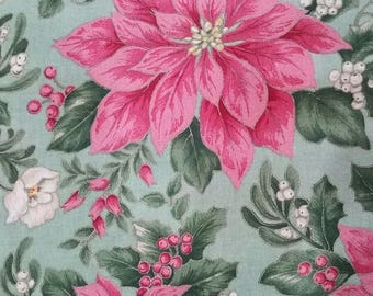 """Christmas Poinsettia Pink green cotton fabric New Gold By the yard 44"""" wide"""