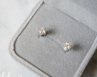 4.5mm Moissanite studs. D-F grade moissanite. WHITE GOLD gemstone earrings. diamond alternative earrings. 14K white gold.