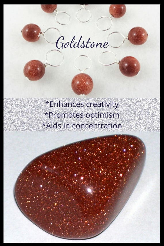 Stitch Markers for Knitting or Crochet, Goldstone Gemstone, Set of 10, Snag-Free, Customizable Sizes with Hooks or Rings