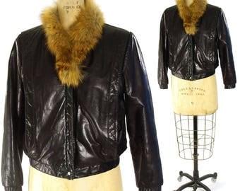 80s Leather Motorcycle Jacket Vintage 1980s Fox Fur Collar Black Moto / Biker / Punk Rocker / Mod / Boho / Small Medium