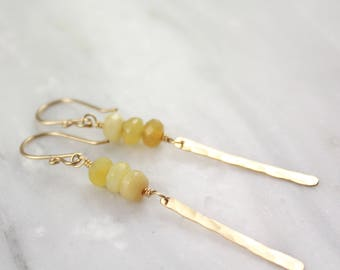 Yellow Opal and Forged Gold Icicle Earrings