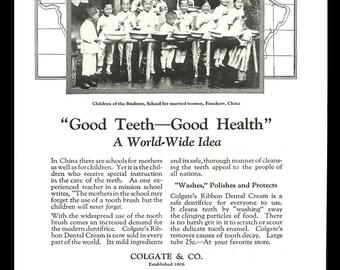 Colgate Ribbon Dental Cream 1924 AD Foochow China Children Photo Print Ad