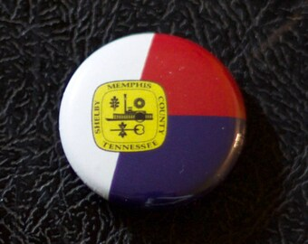 "1"" Memphis TN flag button - Tennessee, city, pin, badge, pinback"