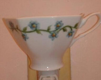 China Painted Tea Cup Blue Forget Me Not Night Light